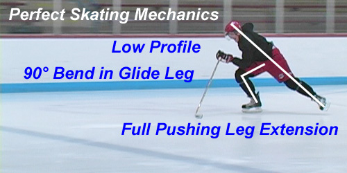Perfect Skating Mechanics: Low Profile, 90 degree Leg Bend, and Full Leg Extension